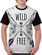 Man's T Shirts,Crossed Ethnic Arrows with Wild and Free Motivation Quote Primitive Illustration Theme