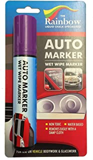 Car Paint Marker Pens Auto Writer Violet/Purple - Wide Tip - All Surfaces, Windows, Glass, Tire, Metal - Any Automobile, Truck or Bicycle, Water Based Wet Erase Removable Markers Pen