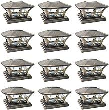 iGlow 12 Pack Vintage Bronze Garden 6 x 6 Solar SMD LED Post Deck Cap Square Fence Light Landscape Lamp PVC Vinyl Wood