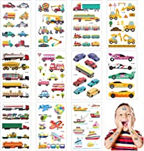 Cieovo Construction Vehicle Temporary Tattoos - 11 Sheets Fun Car Stickers - Waterproof Truck Tattoo Stickers for Birthday Party Favor