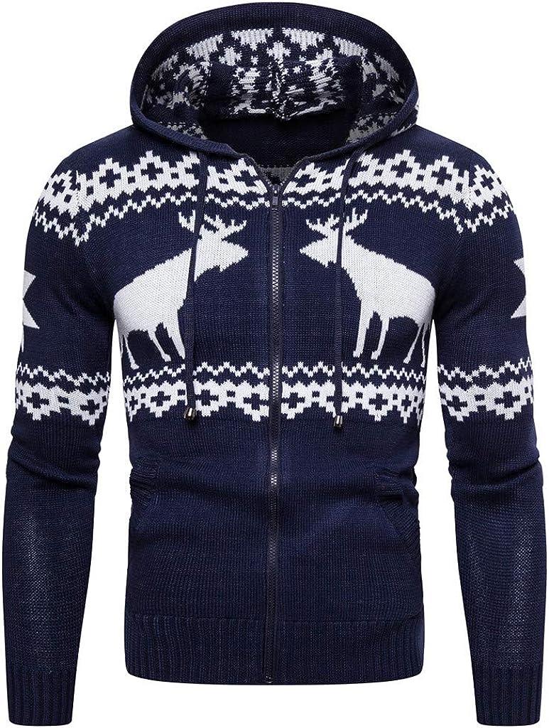 Mens Christmas Hoodies, F_Gotal Unisex 3D Cool Printed Hoodies Personalized Hooded Knitting Outwear Hooded Sweatshirts