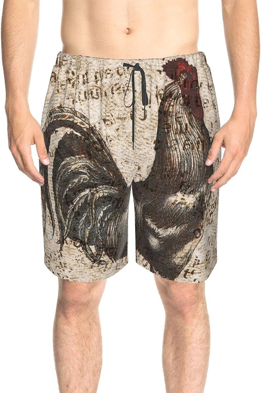 JINJUELS Men's Swim Shorts Retro Rooster Gray Swim Board Shorts Fast Dry Fashion Beach Swim Trunk with Pockets