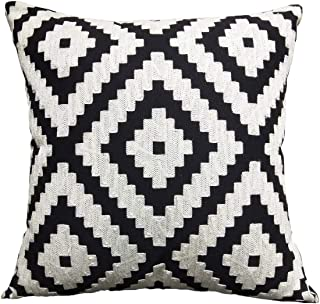 FINOHOME Throw Pillow Covers Embroidered Pillow Case Square Decorative Cushion Cover Euro Sham For Sofa Bed,Black White,18 x 18 Inches,Pixel,1 pcs