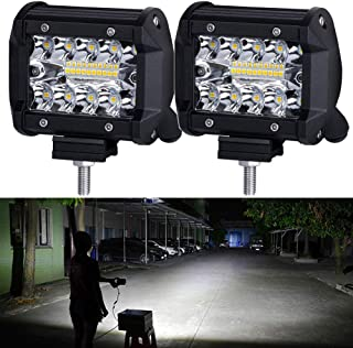 LED Pods,NAO LED Work Light Bar Bulb Spot Flood Lights for Trucks 4inch Led Fog Light Bar for Offroad Town Truck Car ATV Boat SUV 2PCS 140W Triple Row,12-month Warranty