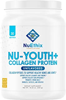 NuEthix Formulations Nu-Youth + Collagen Protein, Collagen Peptides to Help Support Bones and Joints Dietary Supplement, 3...