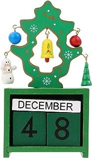 PRETYZOOM Weihnachtskalender Holz Adventskalender Vintage Retro Dauerkalender Holzblock Monat Datumsanzeige Schreibtischkalender f/ür Weihnachten Xmas Neujahr Party Tischdekoration