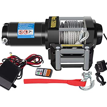 DCFlat 12V 2500/3000/3500/4000/4500LBS Wire Rope Electric Winch for Towing ATV/UTV/Boat Off Road with Mounting Bracket Wireless Remote Control