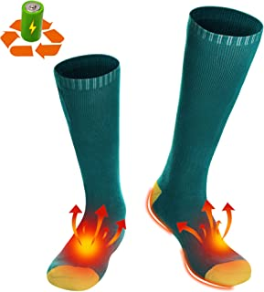 Battery Heated Socks Electric Rechargeable Heating Socks Kit for Chronically Cold Feet,Winter Thick Cotton Thermal Insulated Socks Stockings,Women Men's Original Warm Socks for Hunting Skiing Cycling