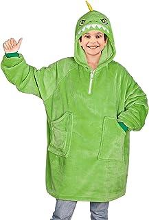 Play Tailor Hoodie Blanket Sweatshirt for Kids Boys Dinosaur Oversized Fleece Wearable Pullover Blankets with Pockets, Gre...