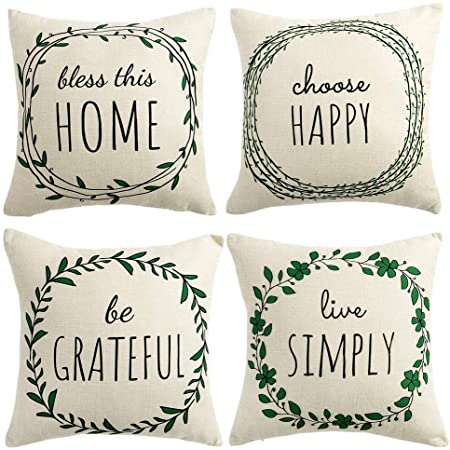 Set of 4 Pillow Covers 18x18 Inch for Home Decor