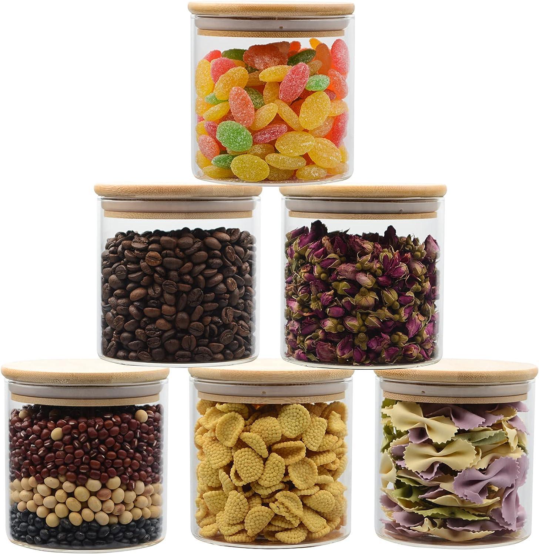 LPAIWXY Max 68% OFF Glass Food Storage Jars with High Bamboo Latest item Borosilic Lids