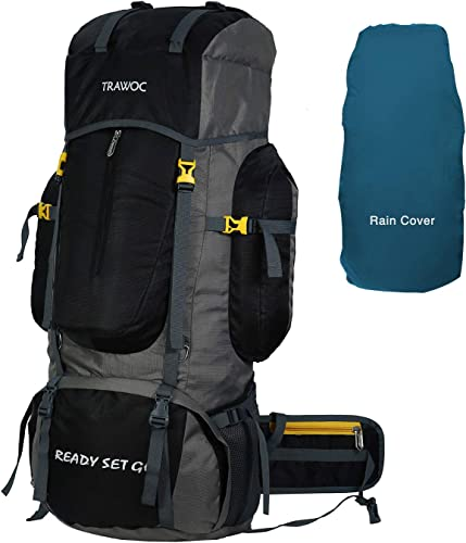 80L Travel Backpack Camping Hiking Rucksack Trekking Bag with Water Proof Rain Cover Shoe Compartment BHK001 Black