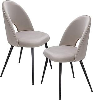 FineBuy Chaise de Salle à Manger Beige Lot de 2 Velours/Métal Design Scandinave   Chaise Cuisine avec Dossier   Chaise rem...