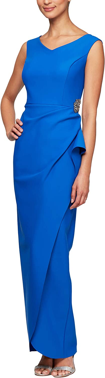 Alex Evenings Women's Slimming Long Dress Ruched with Side Casca Super Ranking TOP12 intense SALE