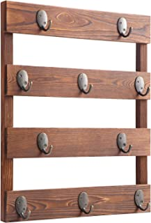 Eurlemd Coffee Mug Holder, Rustic Wooden Mug Rack Wall Mounted, with 10 Hooks for Home Kitchen Display Storage and Collection (Rustic Brown)