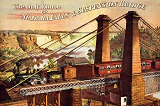 Wooden Train Jigsaw Puzzle for Adults - Niagara Falls Railway and Suspension Bridge - 401 Pieces. Made in The USA by Nautilus Puzzles