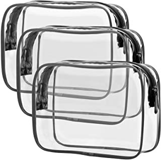 Clear Toiletry Bag, Packism 3 Pack TSA Approved Toiletry Bag Quart Size Bag, Travel Makeup Cosmetic Bag for Women Men, Car...