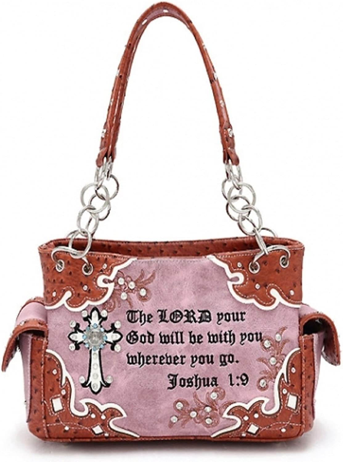 Brown Concealed Carry Cross Purse With Bible Verse