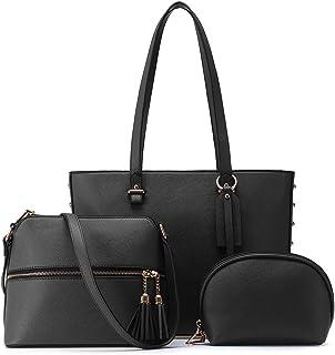 JOSEKO Handtasche Damen Set Taschen Damen Shopper Schultertasche Umhängetasche Geldbörse Elegante PU Tasche Groß 3-teilige...