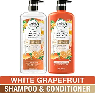 Herbal Essences, Volume Shampoo & Conditioner Kit With Natural Source Ingredients, For Fine Hair, Color Safe, BioRenew White Grapefruit & Mosa Mint Naked Volume, 20.2 fl oz, Kit