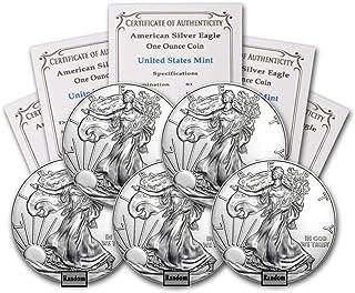 1986 - Present (Random Year) Lot of (5) 1-Ounce American Silver Eagle Brilliant Uncirculated w/Our COA
