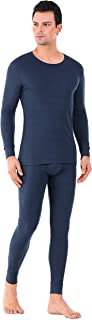 David Archy Men's Base Layer Undershirts Underwear Ultra Soft Winter Warm Top & Bottom Thermal Set Long Johns with Fly
