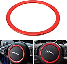iJDMTOY (1) Red Aluminum Steering Wheel Center Decoration Ring Cover Trim For Jaguar F-Pace E-Pace XE XF