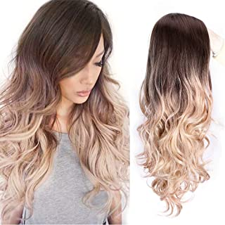 AISI QUEENS Ombre Long Curly Wig Cospaly Wigs Synthetic 2 Tone Dark Brown to Ash Blonde Wavy Wigs Natural Looking Side Part Heat Resistant Wigs for Women