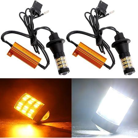 2x White Amber Switchback 7443 7444NA 60-SMD Turn Signal Light DRL Bulbs