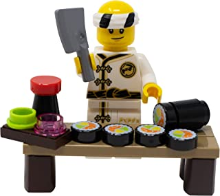 LEGO Sushi Chef with Sushi Roll and More Toy - Custom Itamae Minifigure