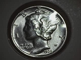 1936 90% Silver Mercury Dimes GEM BU .10c Dime Brilliant Uncirculated
