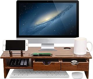 Sundale Bamboo Wood Monitor Stand Ergonomic Computer Riser with Storage Organizer Drawers Desktop Laptop Shelf Risers Cell...