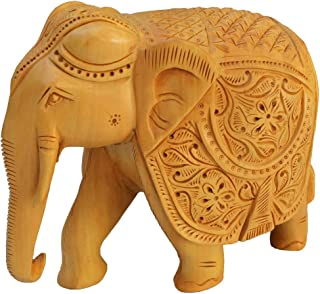 Real Wooden Elephant Statue 8 Inch Large Hand Carved Collectable Figurine and Sculpture – Perfect Gifts and Decor