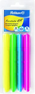 Pelikan Text Marker 414 Triangular Highlighters, 4 Pack, Assorted Colors (30160140)
