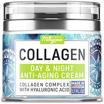 MARYANN Organics Collagen Cream - Anti Aging Face Moisturizer - Day & Night - Made in USA - Natural Formula with Hyaluronic Acid & Vitamin C - Cleanse, Moisturize, and Protect Your Skin