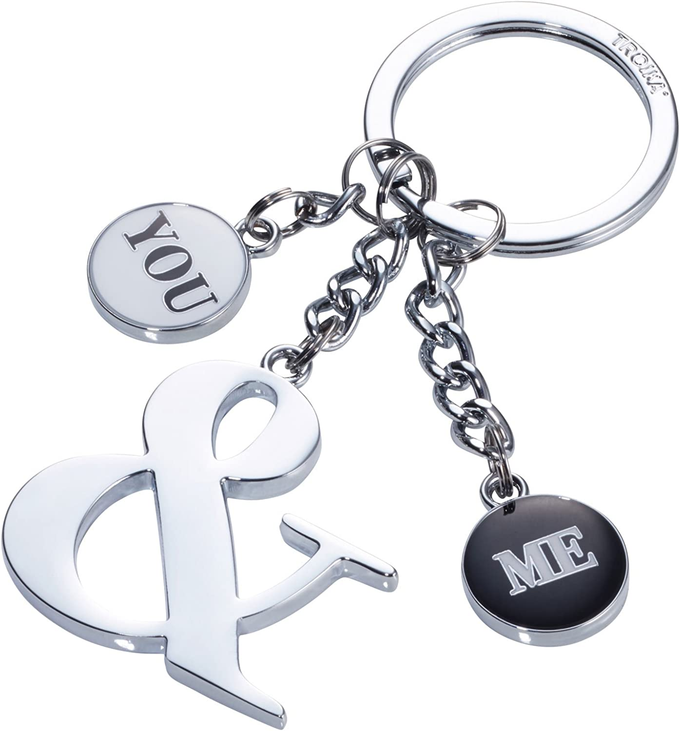 TROIKA YOU & ME – KR17-37/CH – Keyring with 3 charms – For lovers, couples, pairs, or best friends – cast metal/enamel – TROIKA-original