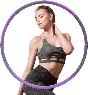 Hoelahoep Fitness, AUCARY afneembare 8-delige fitnessmassage gewichtsverlies hoelahoep, hoepel met gewichten geschikt voor...