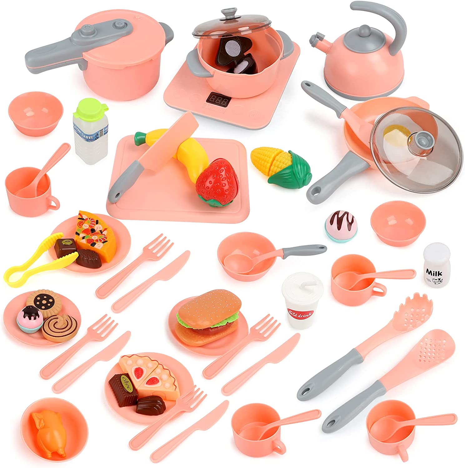Aomola Kids Kitchen Pretend Play Toys 61PCS Cooking Set for Toddlers Cookware Pots and Pans Playset, Cooking Utensils, Toy Cutlery, Cutting Play Food Pink