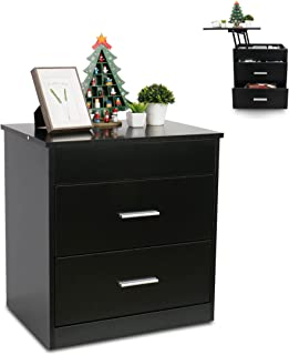 2 in 1 Upgrade Nightstand with Lift Top and Computer Table, Height Adjustable Bedside Table End Table Laptop Desk with 2 Drawer and Hidden Storage Compartment, Black