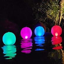 Esuper Floating Ball Pool Light Solar Powered 4 PCS, 14 Inch Inflatable Hangable IP68..