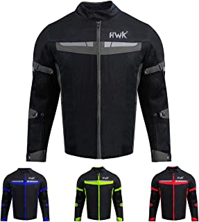 HWK Mesh Motorcycle Jacket Riding Air Motorbike Jacket Biker CE Armored Breathable (XX-Large, Black)