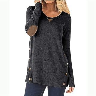 إيمرأة قمصان التونيك وتي شيرتات بجودة عالية مزود بفص منخفض مزود بغطاء علوي مع أزرار هيملاين (اللون: أسود، المقاس: مقاس XXL: