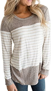 iChunhua Women's Round Neck Color Block Striped Tee Shirts Long Sleeve Causal Blouses Tops