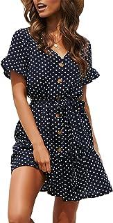 429caa29 Women Pleated Polka Dot Short Sleeve Dresses Loose Swing Casual Beach Dress