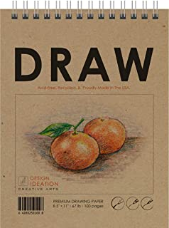 "Design Ideation Drawing Book. Premium Paper Book Style Drawing pad for Pencil, Ink, Marker, Charcoal and Watercolor Paints. Great for Art, Design and Education. 8.5"" x 11""1)"
