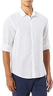 Men's Rolled-Sleeve Solid Linen Cotton Button-up Slim Fit...