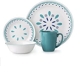 Corelle 3320 Santorini Sky Dinner Set, Blue/Turquoise
