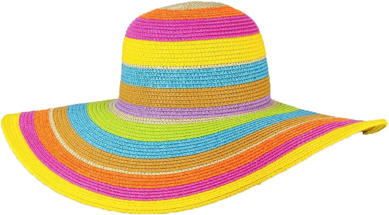 54ddcaeb MAGID colorful Stripes Wide Brim Floppy Straw Sun Hat, Multi Women's ...