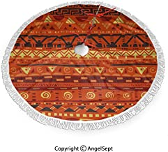 48 inch Christmas Tree Skirt Antique African Folkloric Motifs Primitive Tribal Art Ornaments Illustration,for Holiday Christmas Decorations, Double Layers Xmas Tree Skirt