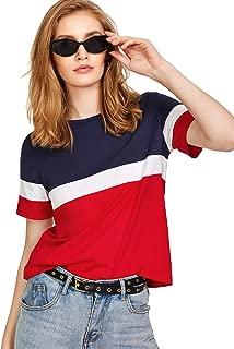FreshTrend Blue White Red Cotton Round Neck Tshirt for Women